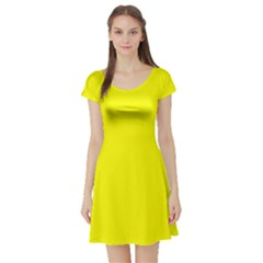 Yellow Color Short Sleeve Skater Dress