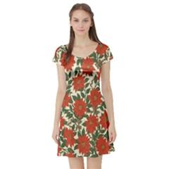 Flower Short Sleeve Skater Dress