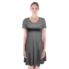 Gray Color Short Sleeve V Neck Flare Dress by Jojostore