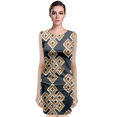 Geometric Cut Velvet Drapery Upholstery Fabric Classic Sleeveless Midi Dress by Jojostore