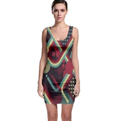 Illustration Sleeveless Bodycon Dress by Jojostore