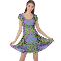 Paris Eiffel Tower Purple Green Cap Sleeve Dresses by Jojostore