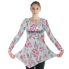 Rose Red Flower Long Sleeve Tunic  by Jojostore