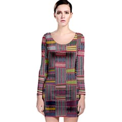 Strip Woven Cloth Color Long Sleeve Bodycon Dress by Jojostore