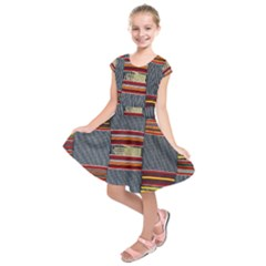 Strip Woven Cloth Kids  Short Sleeve Dress by Jojostore
