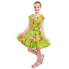 Cheerful Phantasmagoric Pattern Kids  Short Sleeve Dress by Amaryn4rt