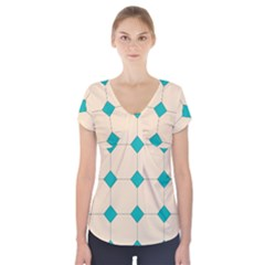 Tile Pattern Wallpaper Background Short Sleeve Front Detail Top by Amaryn4rt