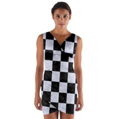 Square1 Black Marble & White Marble Wrap Front Bodycon Dress by trendistuff