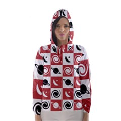 Space Month Saturnus Planet Star Hole Black Pink White Three Hooded Wind Breaker (women)