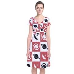 Space Month Saturnus Planet Star Hole Black Pink White Three Short Sleeve Front Wrap Dress