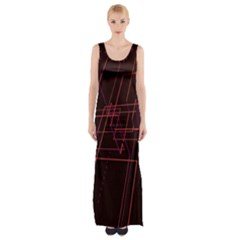Space Path Line Maxi Thigh Split Dress by AnjaniArt