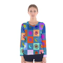 Space Month Saturnus Planet Star Hole Multicolor Women s Long Sleeve Tee by AnjaniArt