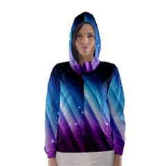 Space Purple Blue Hooded Wind Breaker (women)