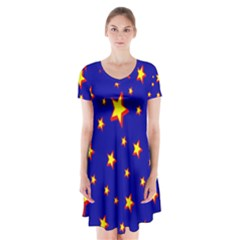 Star Blue Sky Yellow Short Sleeve V Neck Flare Dress by AnjaniArt