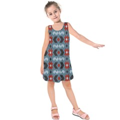 Star Wave Chevron Grey Gray Kids  Sleeveless Dress by AnjaniArt