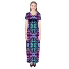 Star Flower Background Pattern Colour Short Sleeve Maxi Dress by AnjaniArt