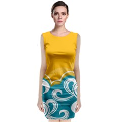 Summer Sea Water Wave Tree Yellow Blue Classic Sleeveless Midi Dress by AnjaniArt