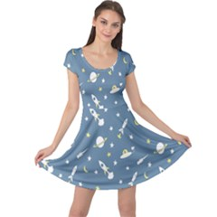 Twiddy Space Saturnus Plane Star Month Rocket Blue Sky Cap Sleeve Dresses by AnjaniArt