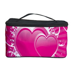 Valentine Floral Heart Pink Cosmetic Storage Case by AnjaniArt