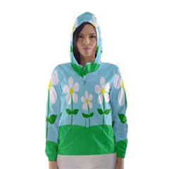 Flower Floral Blue Sky Green Leaf Hooded Wind Breaker (women)