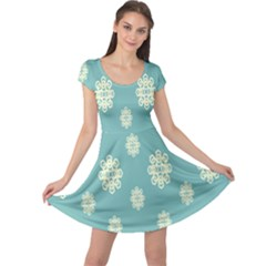 Geometric Snowflake Retro Snow Blue Cap Sleeve Dresses by AnjaniArt