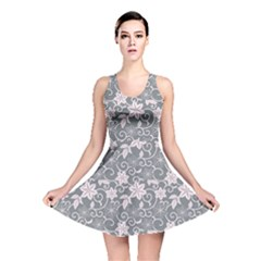 Gray Flower Floral Flowering Leaf Reversible Skater Dress