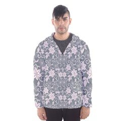 Gray Flower Floral Flowering Leaf Hooded Wind Breaker (men)