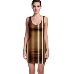 Line Brown Sleeveless Bodycon Dress by AnjaniArt