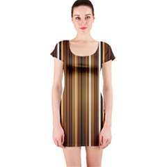 Line Brown Short Sleeve Bodycon Dress by AnjaniArt