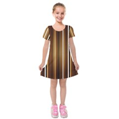 Line Brown Kids  Short Sleeve Velvet Dress by AnjaniArt
