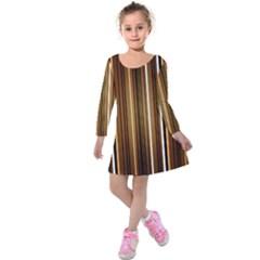 Line Brown Kids  Long Sleeve Velvet Dress by AnjaniArt