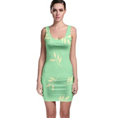 Pastel Leaves Sleeveless Bodycon Dress by AnjaniArt