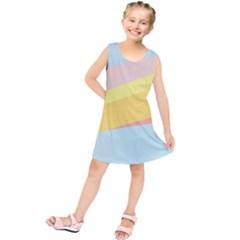 Pink Green Yellow Line Flag Kids  Tunic Dress