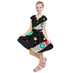 Planet Saturn Rocket Star Kids  Short Sleeve Dress by AnjaniArt