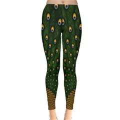 Peacock Feathers Green Leggings  by AnjaniArt