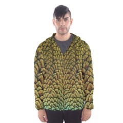 Peacock Bird Feather Color Hooded Wind Breaker (men) by AnjaniArt