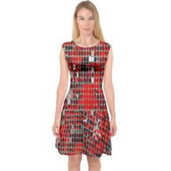 Red Circle Capsleeve Midi Dress by AnjaniArt
