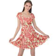 Red Floral Cap Sleeve Dresses by AnjaniArt