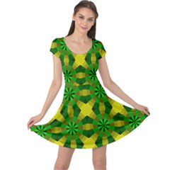 Background Colour Circle Yellow Green Cap Sleeve Dresses