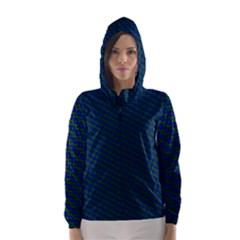 Chain Blue Green Woven Fabric Hooded Wind Breaker (women)
