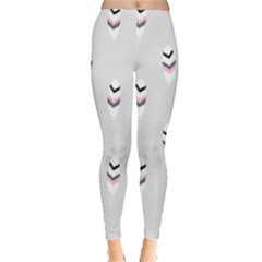Bird Feathers Purple Gray Leggings  by AnjaniArt
