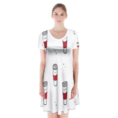 Coffee Cup Glass Short Sleeve V Neck Flare Dress by AnjaniArt