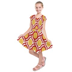 Circle Orange Red Kids  Short Sleeve Dress