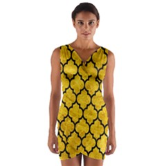 Tile1 Black Marble & Yellow Marble (r) Wrap Front Bodycon Dress by trendistuff