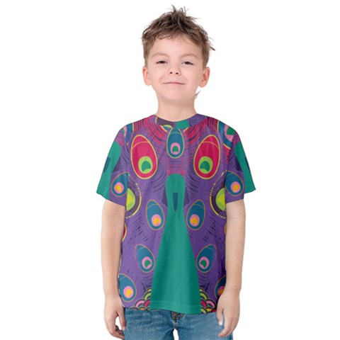 Colorful Peacock Line Kids  Cotton Tee by AnjaniArt
