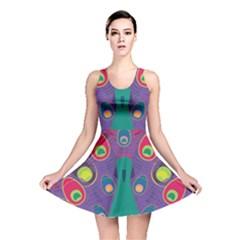 Colorful Peacock Line Reversible Skater Dress