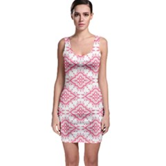 Flower Floral Pink Leafe Sleeveless Bodycon Dress by AnjaniArt
