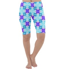 Background Colour Flower Rainbow Cropped Leggings  by AnjaniArt