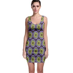 Background Colour Star Flower Purple Yellow Sleeveless Bodycon Dress by AnjaniArt