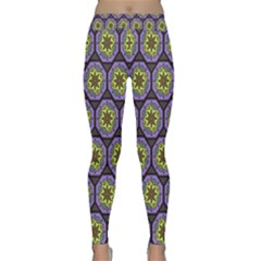 Background Colour Star Flower Purple Yellow Classic Yoga Leggings by AnjaniArt